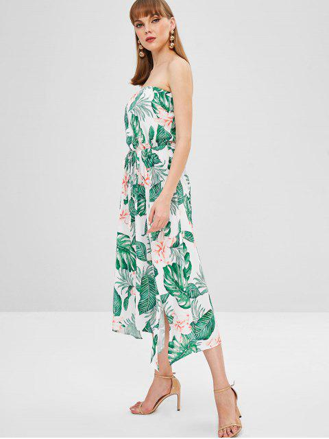 hot Flower Palm Bandeau Slit Dress - MILK WHITE M Mobile