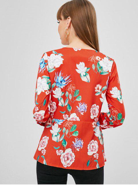 unique Floral Wrap Blouse - BRIGHT ORANGE L Mobile