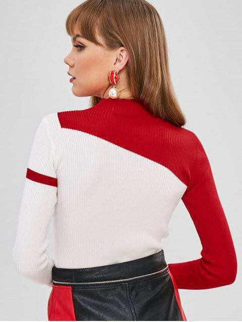 trendy Mock Neck Two Tone Ribbed Sweater - WHITE ONE SIZE Mobile