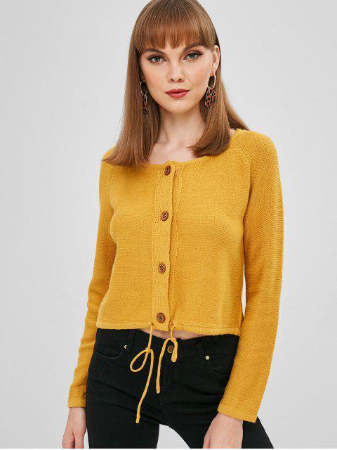 ladies Drawstring Raglan Sleeve Button Up Cardigan - YELLOW ONE SIZE Mobile