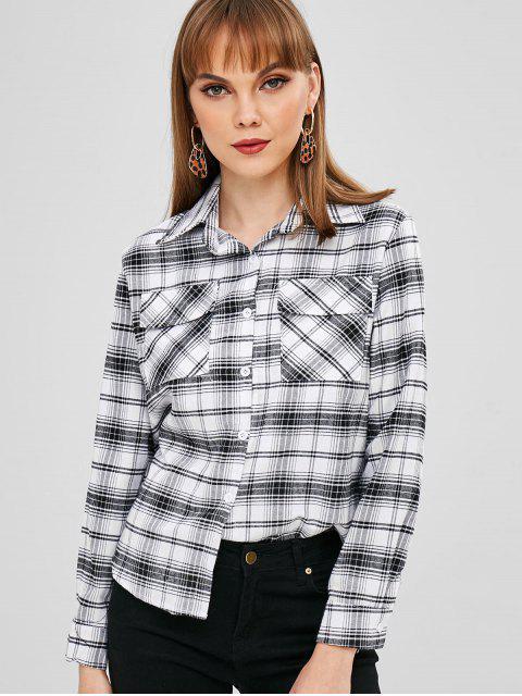 shop Patch Pockets Plaid Shirt - WHITE S Mobile