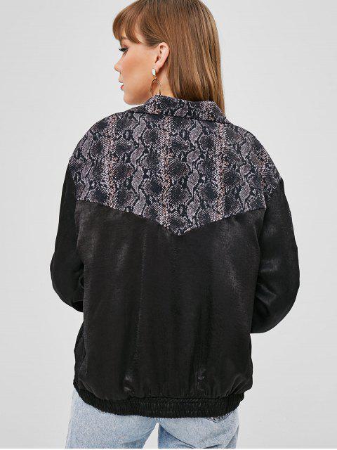 trendy Snake Print Zip Up Jacket - BLACK L Mobile