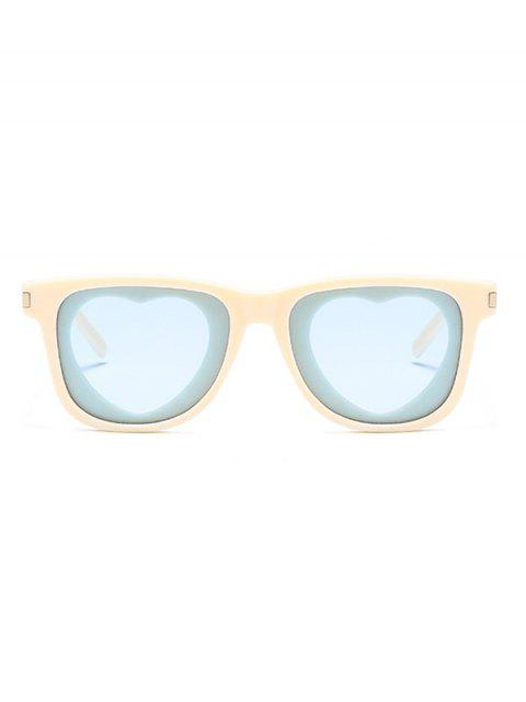 lady Heart Shape Lens Square Frame Sunglasses - AZURE  Mobile
