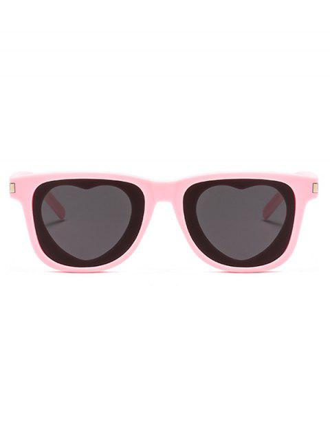 outfits Heart Shape Lens Square Frame Sunglasses - PINK  Mobile