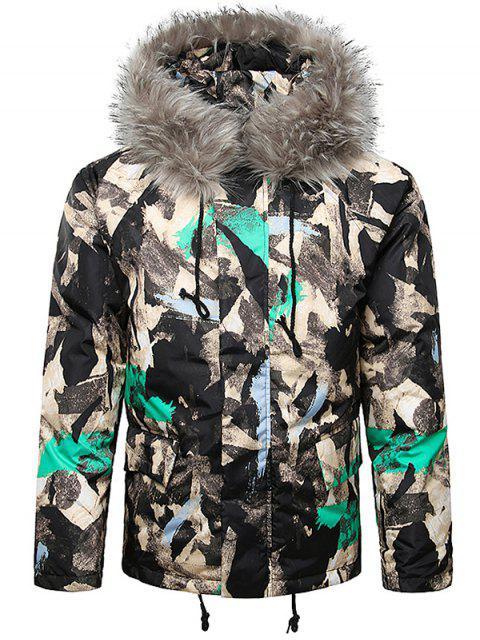 ladies Paint Splatter Fur Hooded Drawstring Design Padded Jacket - AQUAMARINE 2XL Mobile
