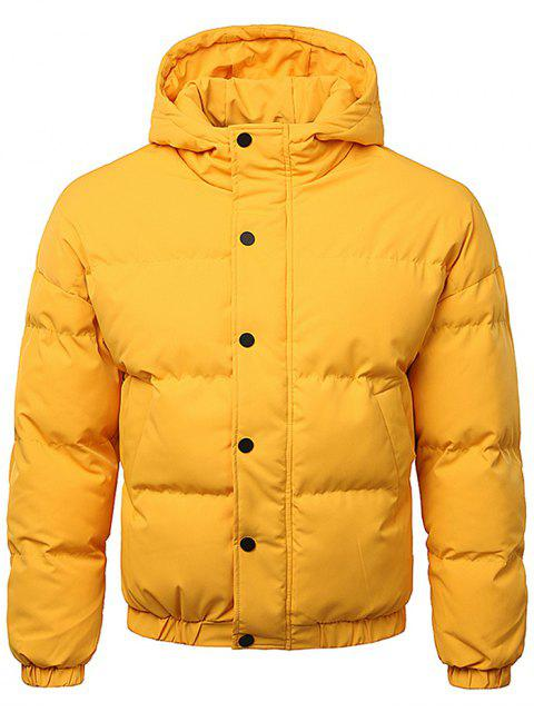 chic Button Up Warmth Hooded Down Jacket - BRIGHT YELLOW 2XL Mobile