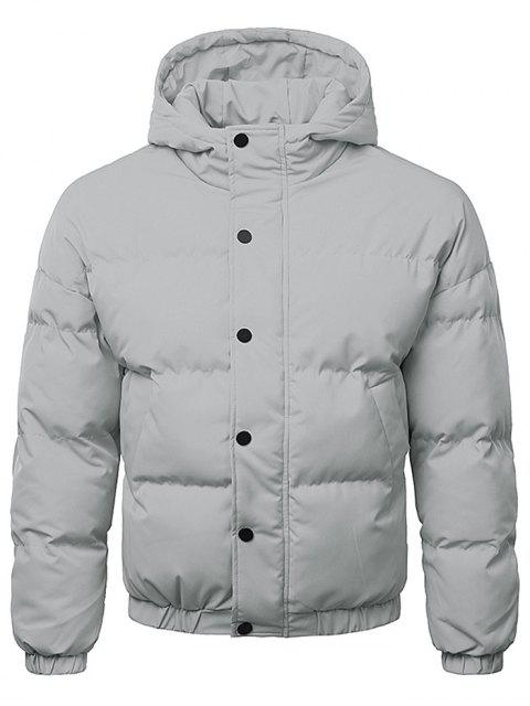 affordable Button Up Warmth Hooded Down Jacket - GRAY CLOUD 2XL Mobile