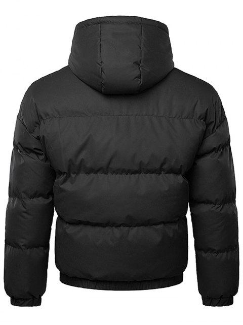 women's Button Up Warmth Hooded Down Jacket - BLACK 2XL Mobile