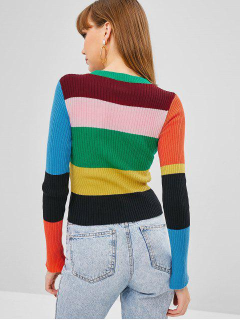 womens Floral Stripes Ribbed Sweater - MULTI ONE SIZE Mobile