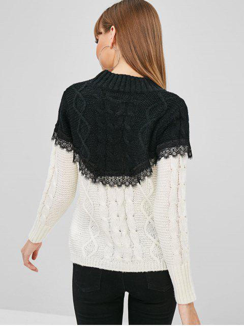 lady Mock Neck Two Tone Cable Knit Sweater - BLACK L Mobile