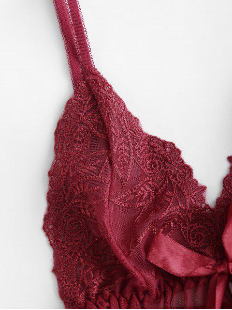 women's Lace Insert Cami Bowknot Babydoll - RED WINE ONE SIZE Mobile