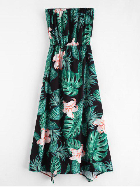 women's Flower Palm Bandeau Slit Dress - BLACK M Mobile