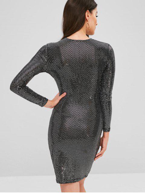 Robe Moulante Ajustée à Paillettes - Noir Taille Unique Mobile