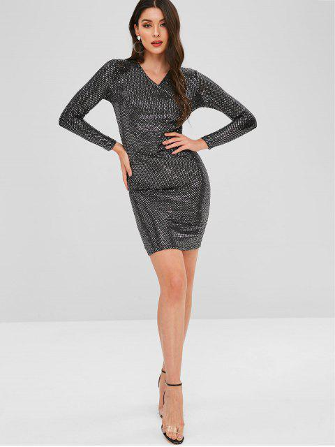 fashion Ruched Sequined Fitted Dress - BLACK ONE SIZE Mobile