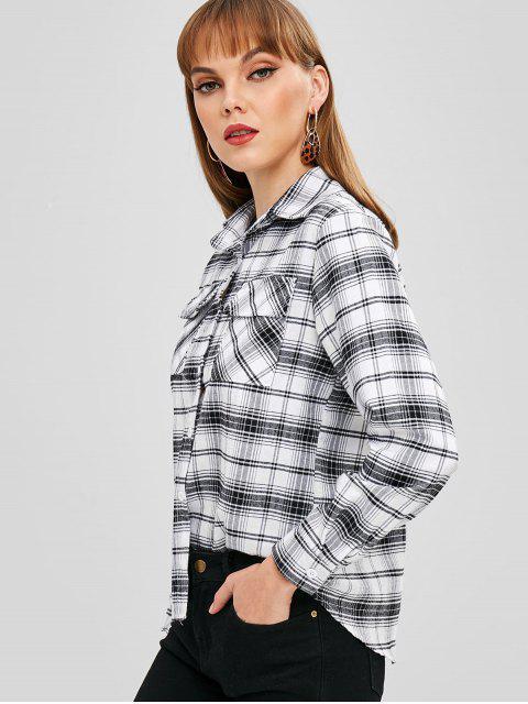 fancy Patch Pockets Plaid Shirt - WHITE M Mobile