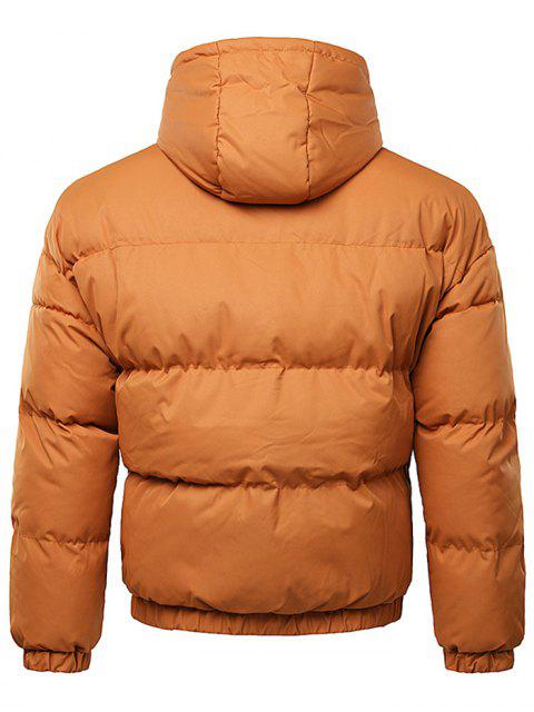 hot Button Up Warmth Hooded Down Jacket - TIGER ORANGE L Mobile