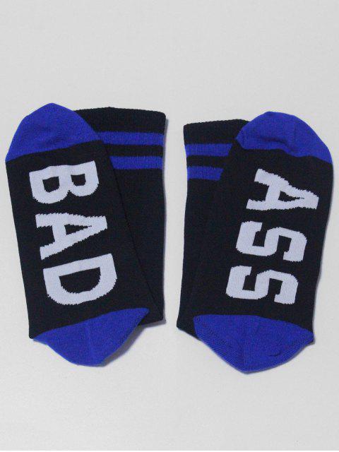 women's Striped Design Letter Pattern Socks - BLACK  Mobile