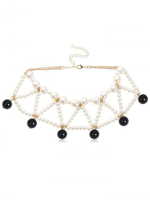 affordable Triangle Faux Pearl Beading Design Necklace - BLACK  Mobile