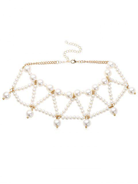 fashion Triangle Faux Pearl Beading Design Necklace - WHITE  Mobile