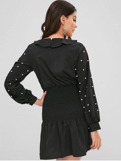 Robe Plissée Perlée à Volants - Noir L Mobile