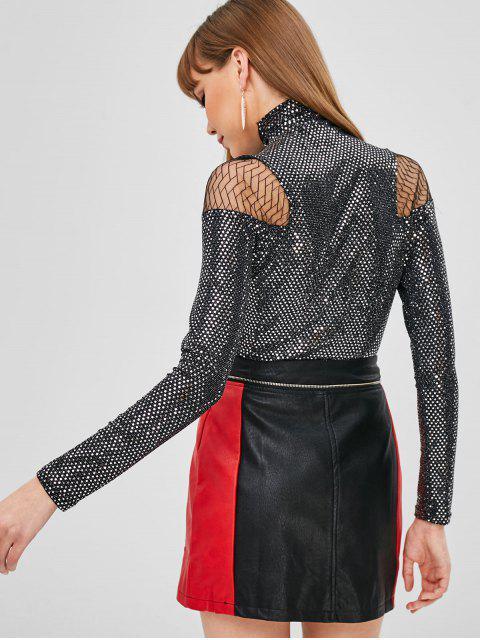 hot Turtleneck Mesh Panel Sequins Top - BLACK ONE SIZE Mobile
