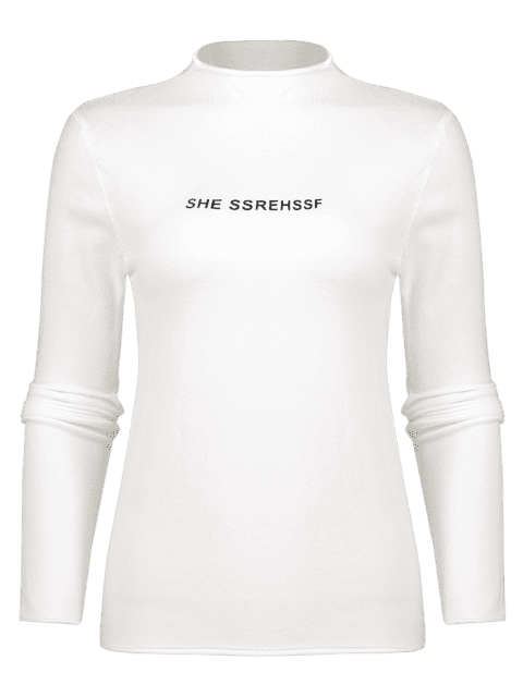 chic She Ssrehssf Graphic Mock Neck Sweater - WHITE ONE SIZE Mobile
