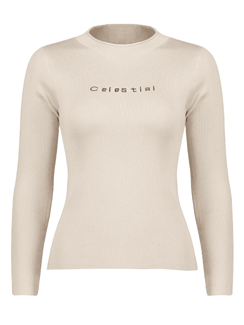 women's Celestial Embroidered Sweater - APRICOT ONE SIZE Mobile