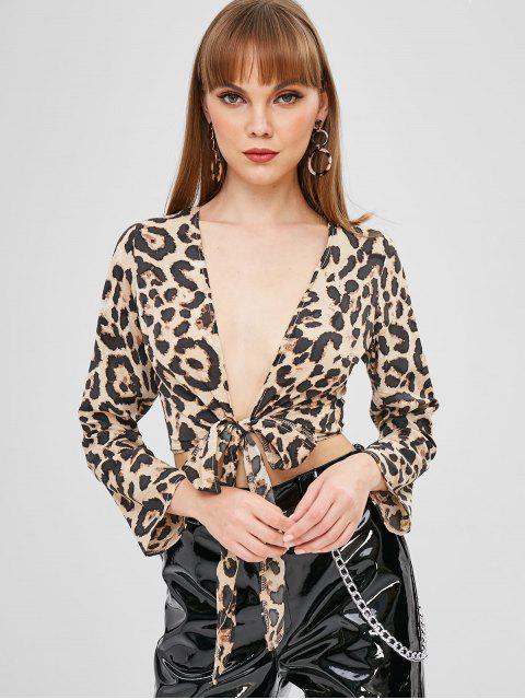 chic Leopard Print Tie Front Crop Top - LEOPARD L Mobile