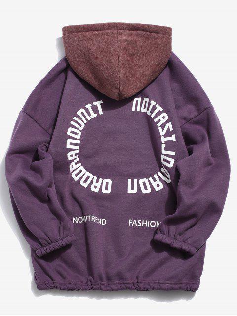latest Color Block Hem Drawstring Fleece Hoodie - PURPLE L Mobile