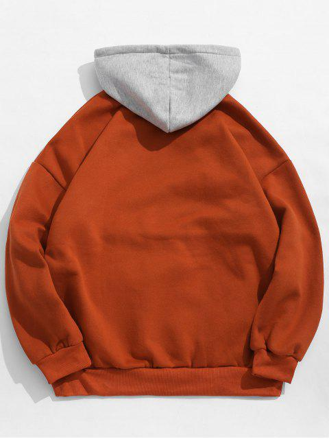 women Pocket Color Block Fleece Hoodie - RED 2XL Mobile