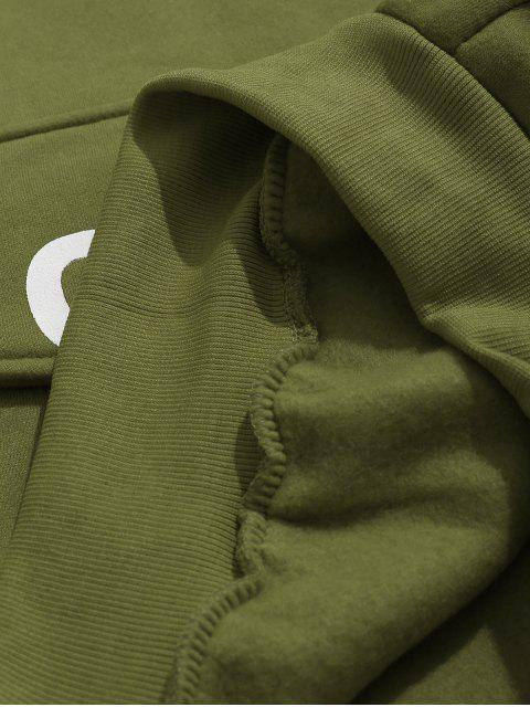 chic Pocket Color Block Fleece Hoodie - ARMY GREEN 2XL Mobile