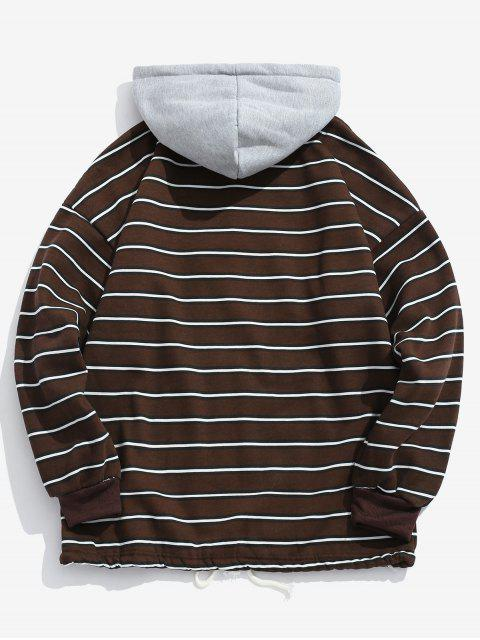 outfit Drawstring Striped Fleece Hoodie - COFFEE 2XL Mobile