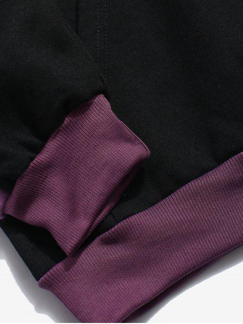 womens Stripe Patchwork Letter Fleece Hoodie - BLACK 2XL Mobile