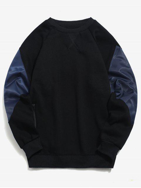 Sweat-shirt Zippé avec Poche en Blocs de Couleurs en Laine - Noir 2XL Mobile