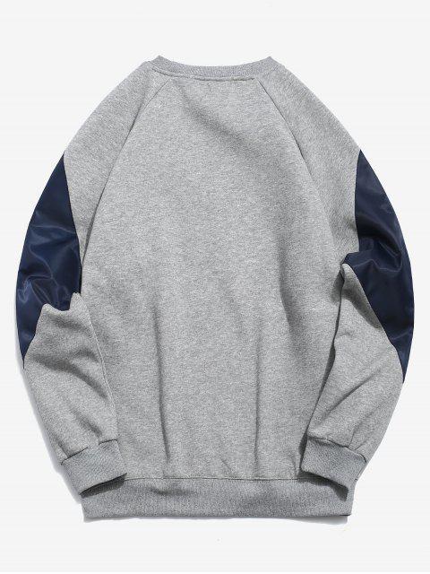 Sweat-shirt Zippé avec Poche en Blocs de Couleurs en Laine - Gris 2XL Mobile