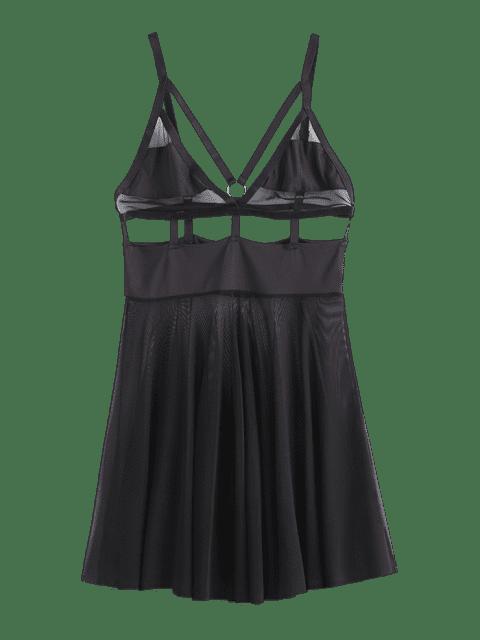 women Strappy Sheer Lingerie Babydoll - BLACK M Mobile