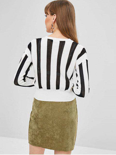 trendy Stripes Openwork Button Up Cardigan - WHITE S Mobile