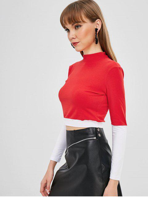sale Mock Neck Color Block Crop T-shirt - RED S Mobile