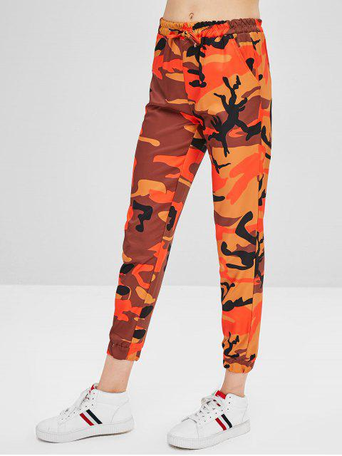 Pantalon Camouflage à Cordon - Orange L Mobile