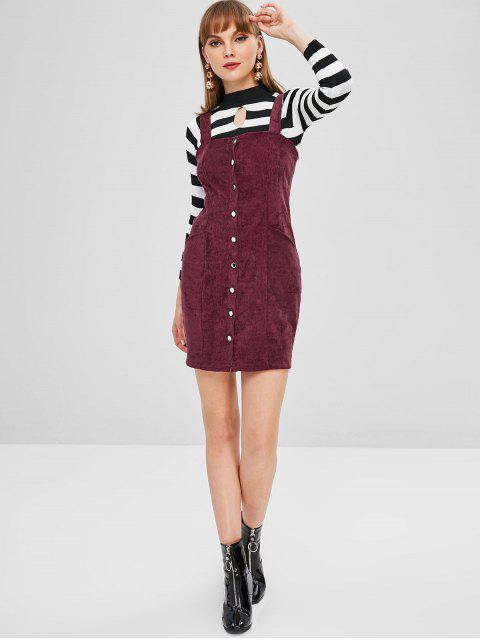 fashion Button Through Corduroy Pinafore Mini Dress - MAROON XL Mobile