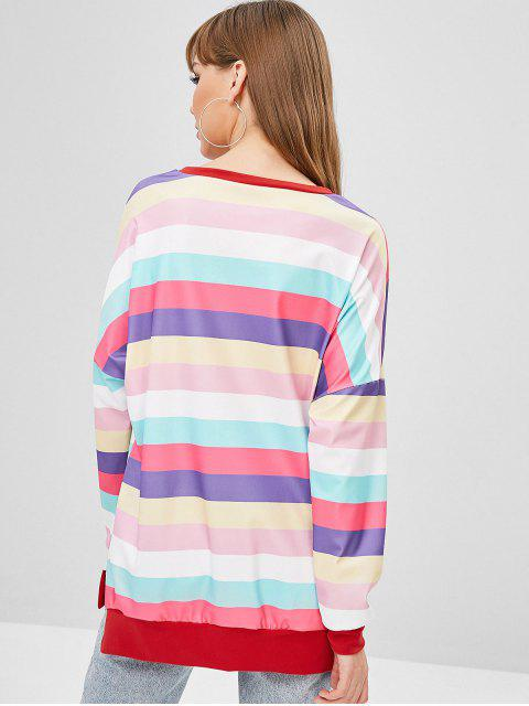 new Striped Pullover Baggy Oversized Sweatshirt - MULTI-A L Mobile