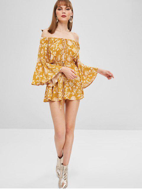 online Floral Print Off Shoulder Wide Leg Romper - YELLOW M Mobile