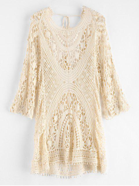 sale Backless Crochet Cover Up Dress - WARM WHITE ONE SIZE Mobile