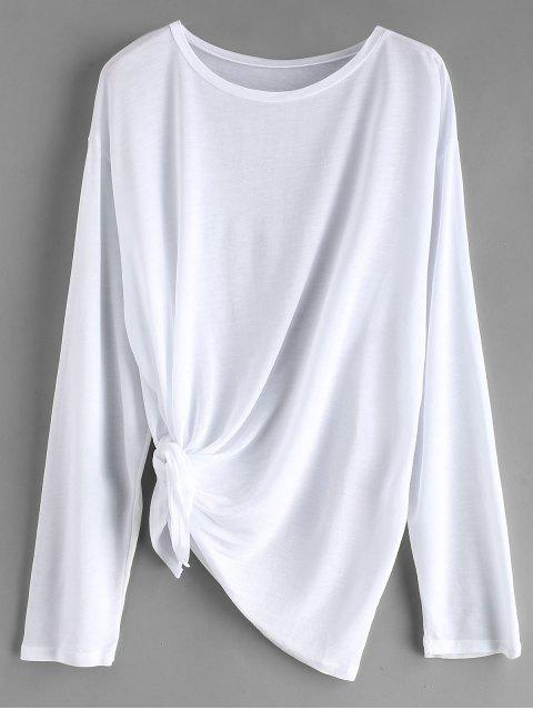 Tie Side Drop Hombro Beach Cover Up Top - Blanco Talla única Mobile