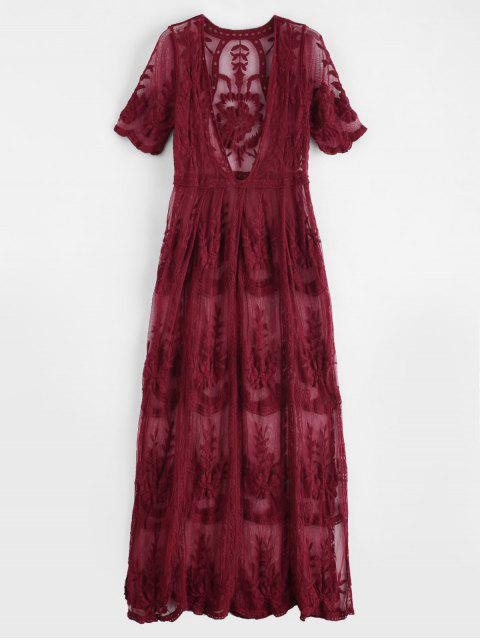 buy Plunging Lace Scalloped Slit Cover Up - RED WINE ONE SIZE Mobile