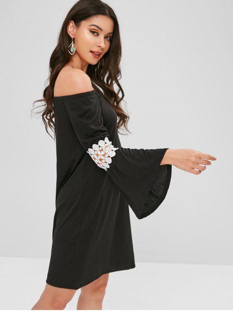 outfit Flare Sleeve Off Shoulder Mini Dress - BLACK S Mobile