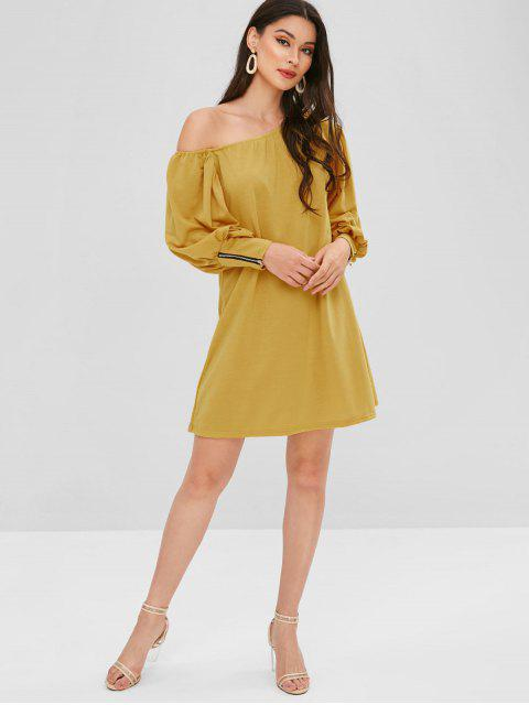 affordable Zippered One Shoulder Mini Dress - YELLOW L Mobile