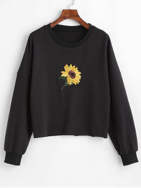 Sweat-shirt Tournesol Brodé de à Paillettes - Noir L Mobile