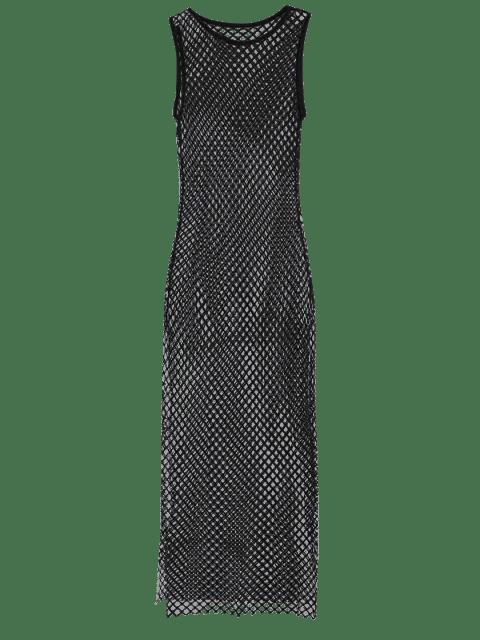 outfit Side Slit Sheer Mesh Dress - BLACK L Mobile