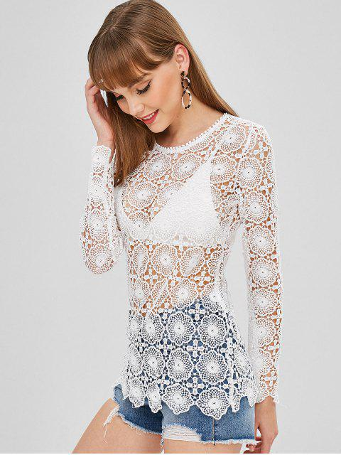 new Long Sleeve Open Crochet Top - WHITE M Mobile
